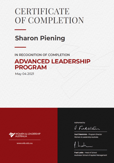 Advanced Leadership Program Certificate Of Completion